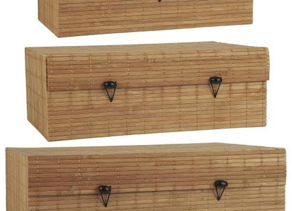 Natural Bamboo Boxes - Set of 3