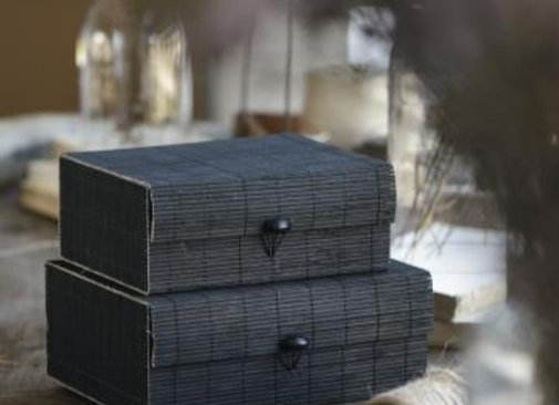 Black Bamboo Boxes - Set of 2