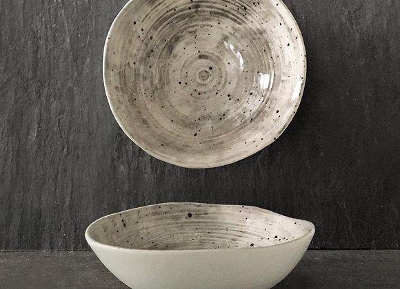 Grey Speckled Wash Porcelain Bowl