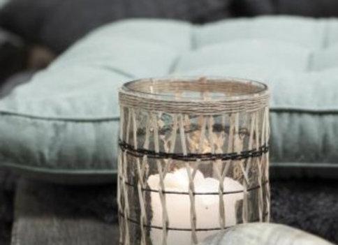 Medium Glass and Bamboo Candle Jar