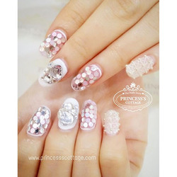 Gel sculpture nails extensions(natural length) and nails designs done by Qing at The Seletar Mall. _