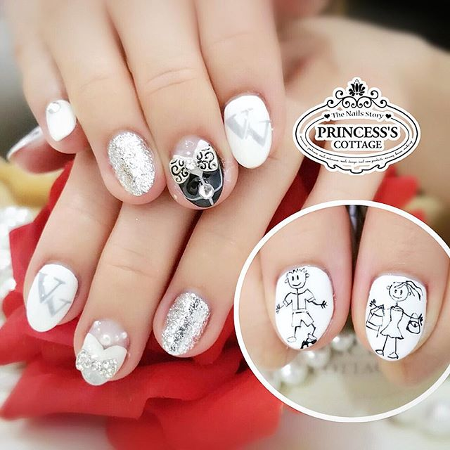 A lovely bridal set designed by our customer themselves Veron & Vincent! 【Done by Senior Nail Artist