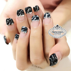French marble nails & chrome nail tapes