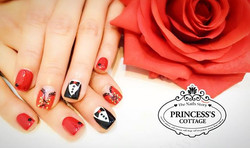 Tuxedo and lace corset nails in unusual colors, Red and black gives you the sexy look! On _ec24m for