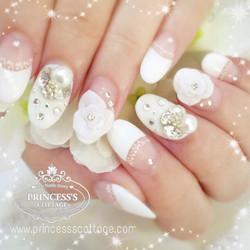 Elegant Bridal Nails on nails extensions, done by Joanna at The Seletar Mall
