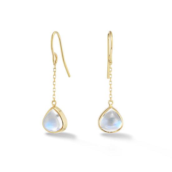 18k Yellow Gold Moonstone Dangle Earrings