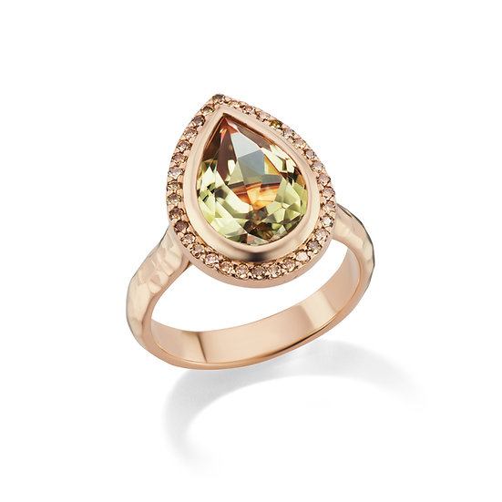 14k Rose Gold Pear Cut Hammered Csarite Ring With Chocolate Diamond Accents