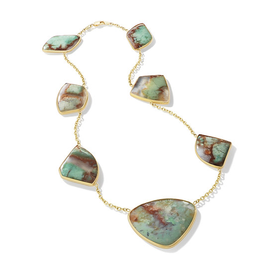 14k Yellow Gold Aquaprase Slice Necklace
