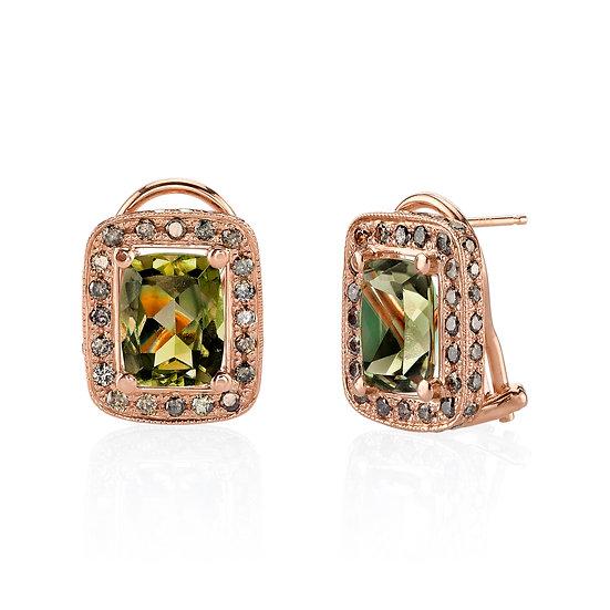 14k Rose Gold Antique Cushion Cut Csarite/Chocolate Diamond Bezel Stud Earrings