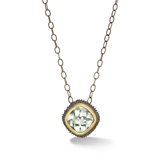 Oxidized Sterling Silver Prasiolite Pendant With 18k Yellow Gold Bezel