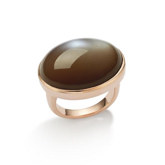 14k Rose Gold Chocolate Moonstone Cabochon Ring
