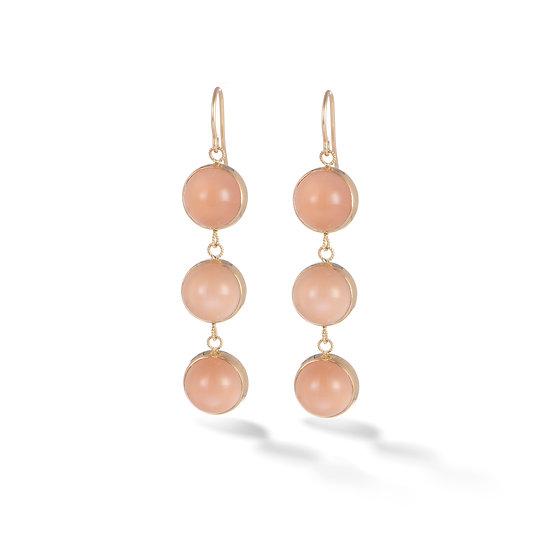 18k Yellow Gold Orange Moonstone Triple Drop Dangle Earrings