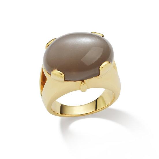18k Yellow Gold Gray Moonstone Cabochon Ring