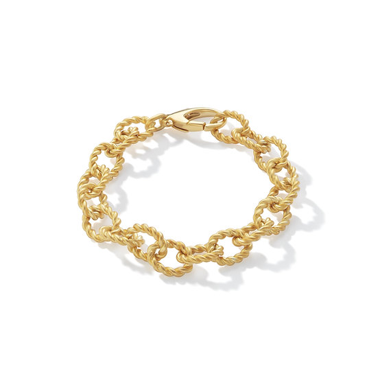 14k Yellow Gold Plated Rope Link Bracelet