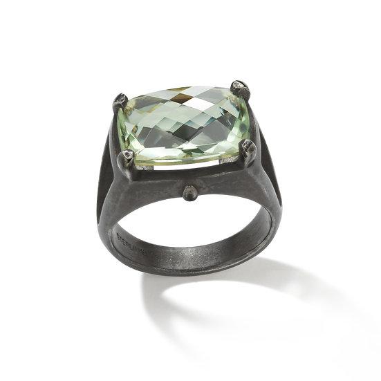 Oxidized Sterling Silver Emerald Cut Prasiolite Ring