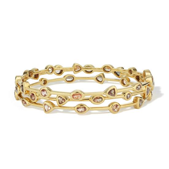 Designer Bracelet - 18k Yellow Gold Stackable Natural Oregon Sunstone Designer Bangles