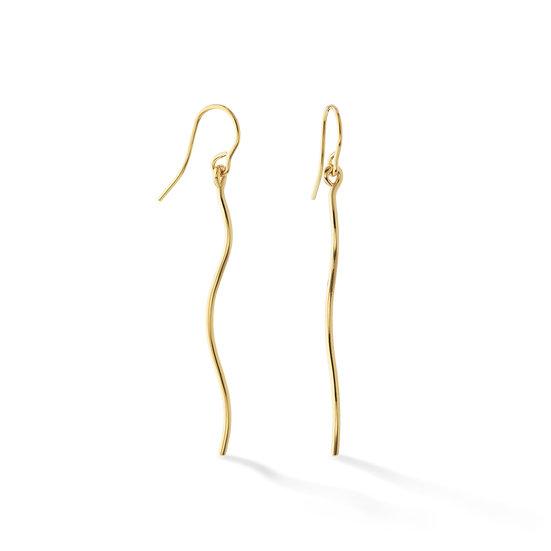14k Yellow Gold Wave Dangle Earrings