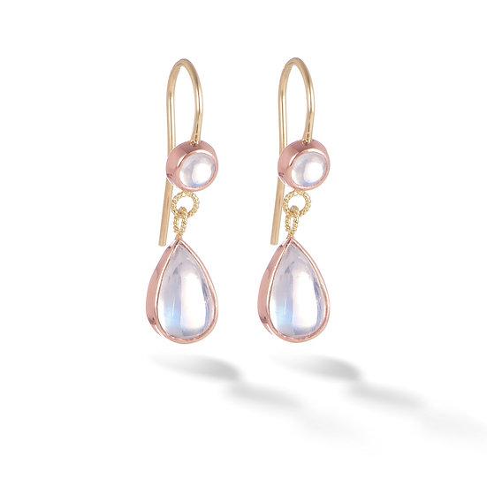 18k Yellow Gold & 14k Rose Gold Double Drop Dangle Earrings