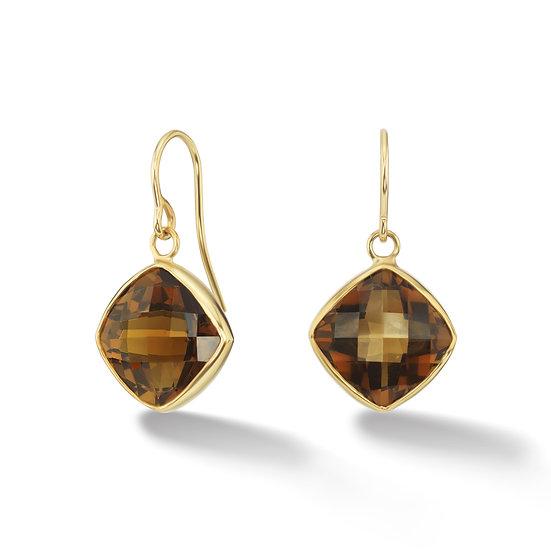 18k Yellow Gold Whiskey Quartz Bezel Earrings