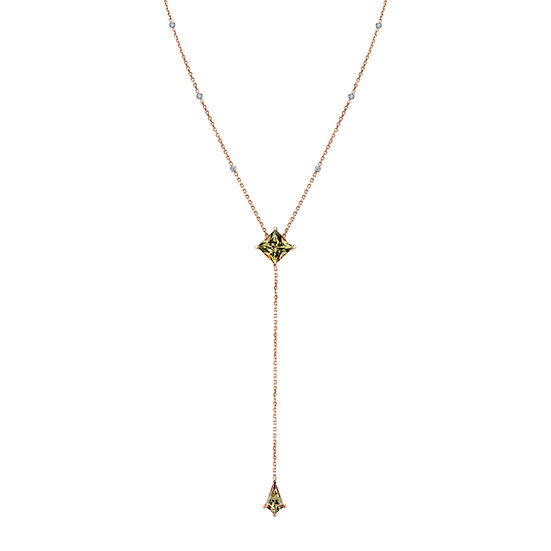 """14k Rose Gold """"Y"""" Necklace Featuring Princess and Kite Cut Csarite with Diamonds"""
