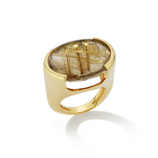 18k Yellow Gold Rutilated Quartz Ring