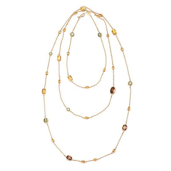 18k Yellow Gold Demantoid, Citrine & Orange Zircon Rope Necklace