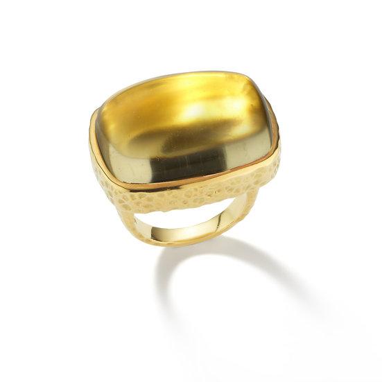 18k Green Gold Hammered Citrine Cabochon Ring