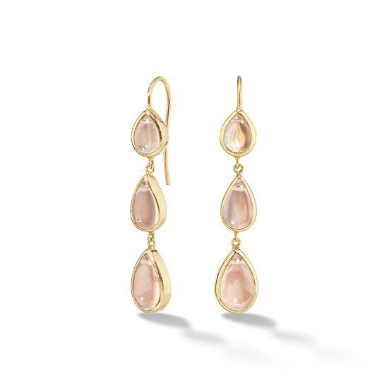 18k Yellow Gold & 14k Rose Gold Natural Oregon Sunstone Dangle Pear Earrings