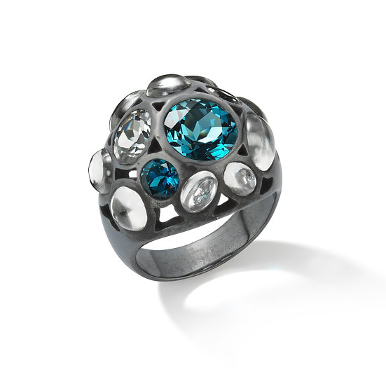 Oxidized Sterling Silver London Blue And White Topaz Ring