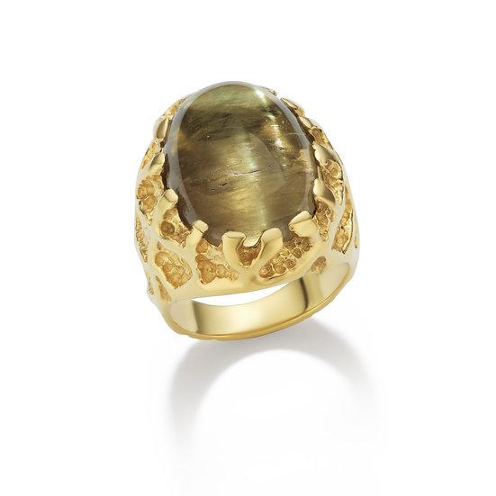 18k Textured Yellow Gold Csarite Cabochon Ring