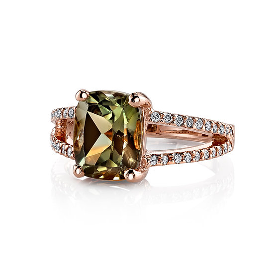 14k Rose Gold Antique Cushion Cut Csarite Ring With Diamond Accents