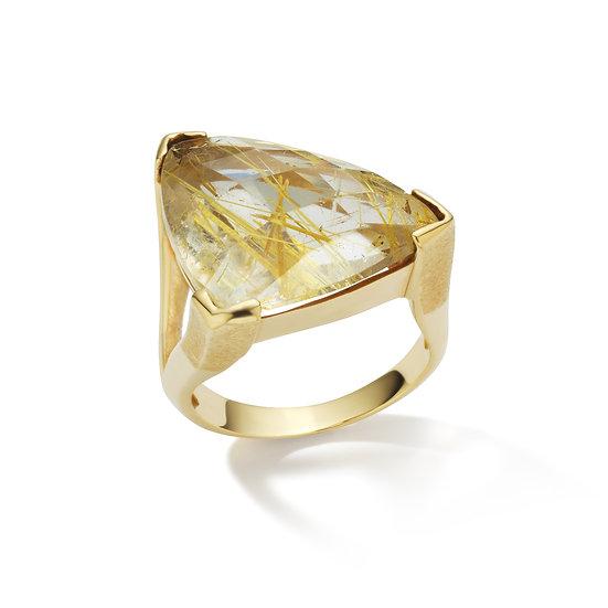 "18k Yellow Gold Free Form Shape Rutilated Quartz ""The OG"" Ring"