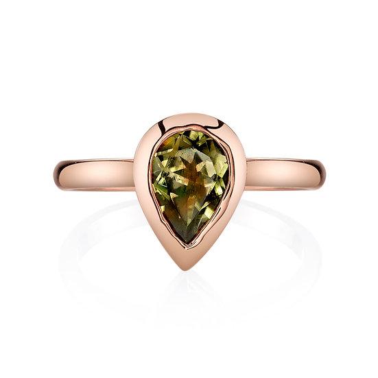14k Rose Gold Pear Shape Csarite Ring