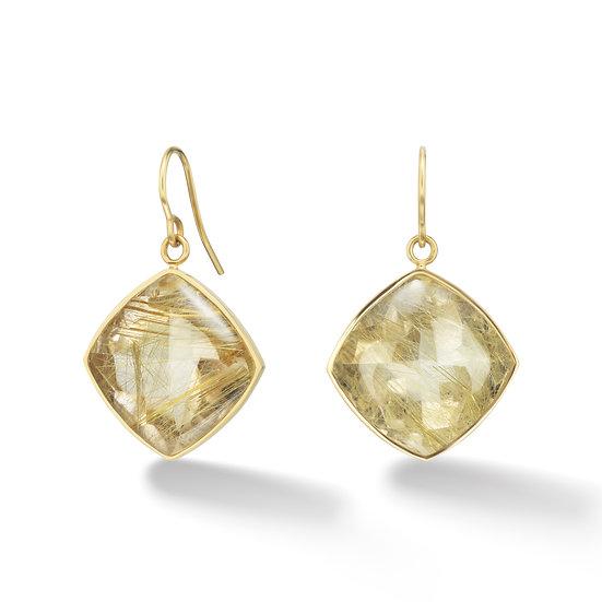 18k Yellow Gold Rutilated Quartz Bezel Earrings