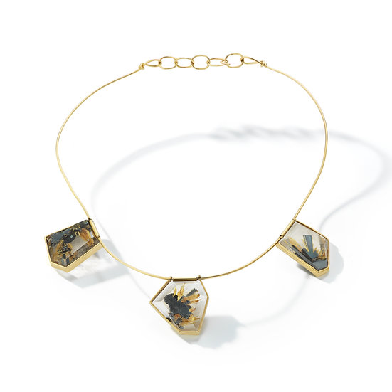 14k Yellow Gold Rutilated Quartz Wire Necklace