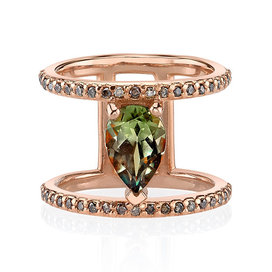 14k Rose Gold Pear Shape Csarite Ring With Chocolate Diamond Accents
