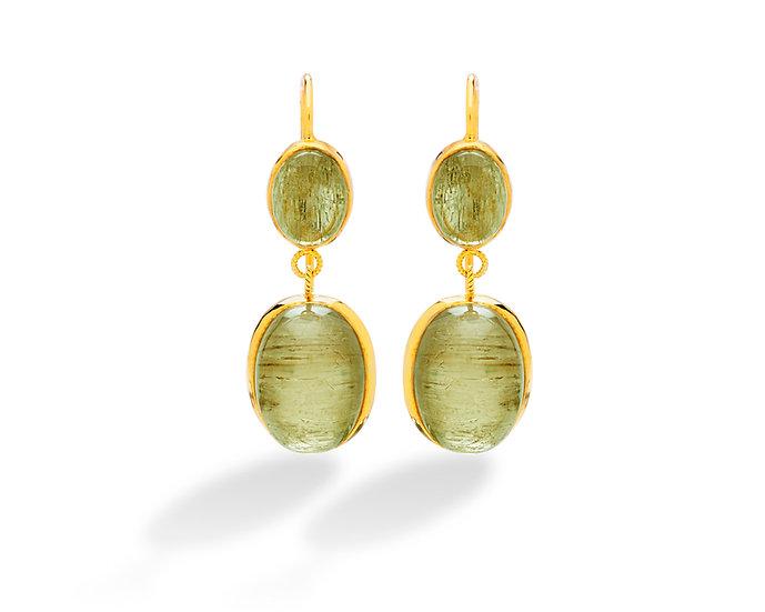 18k Yellow Gold Csarite Oval Cabochon Dangle Earrings