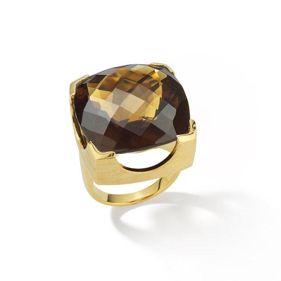 18k Yellow Gold Whiskey Checkerboard Quartz Ring