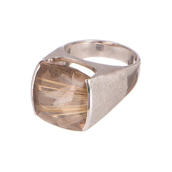 18k White Gold Rutilated Quartz Ring