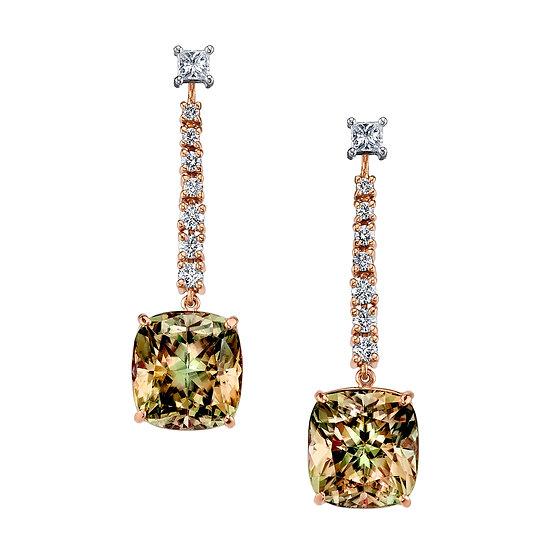 14k Rose Gold & White Gold Antique Cushion Cut Csarite / Diamond Drop Earrings
