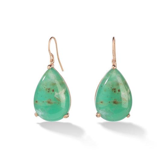 14k Rose Gold Pear Shaped Aquaprase Dangle Earrings