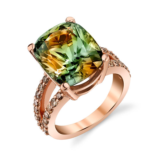 14k Rose Gold Antique Cushion Cut Csarite Ring With Chocolate Diamond Accents