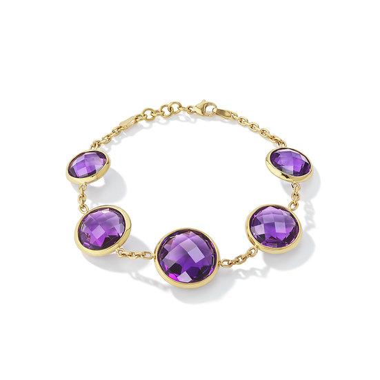 18k Yellow Gold Amethyst Bezel Set Bracelet