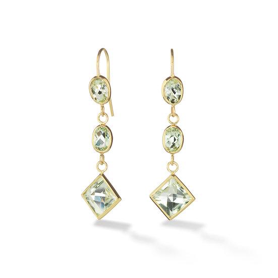 18k Yellow Gold Prasiolite Triple Drop Dangle Earrings