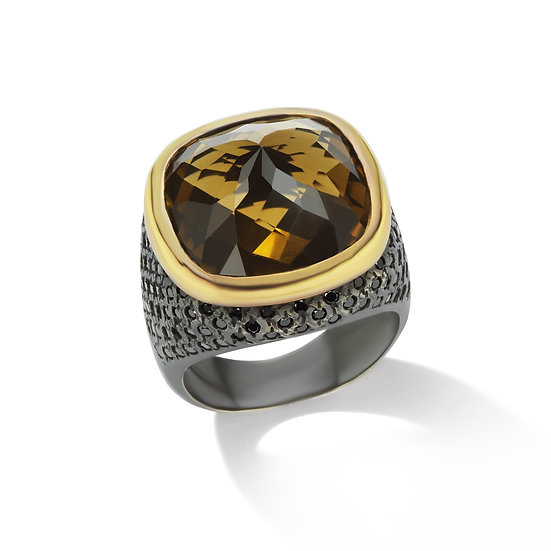 Oxidized Sterling Silver Whiskey Quartz Ring With 18k Yellow Gold Bezel