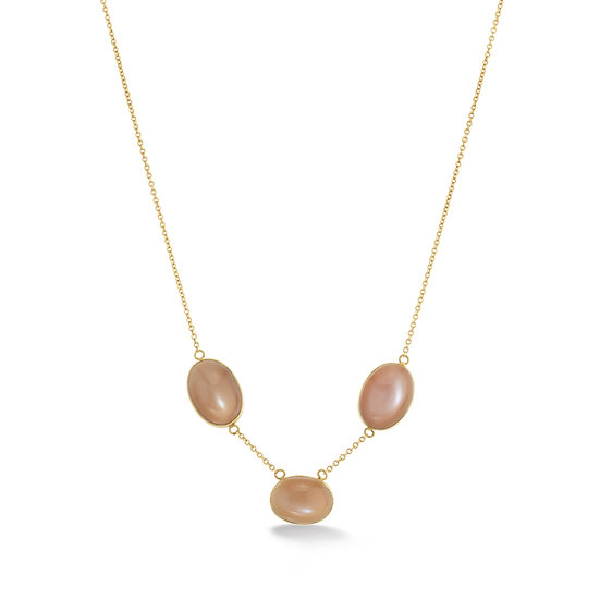 18k Yellow Gold Chocolate Moonstone Bezel Cabochon Necklace