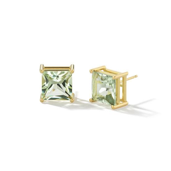 18k Yellow Gold Prasiolite Princess Stud Earrings