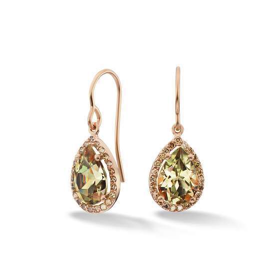14k Rose Gold Pear Cut Dangle Earrings With Chocolate Diamond Accents