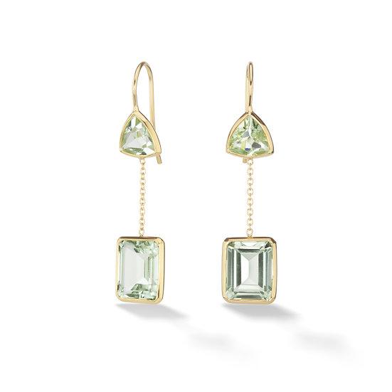 18k Yellow Gold Prasiolite Double Drop Dangle Earrings