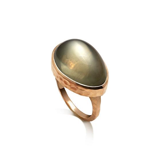 14k Rose Gold Mango Green Moonstone Hammered Ring